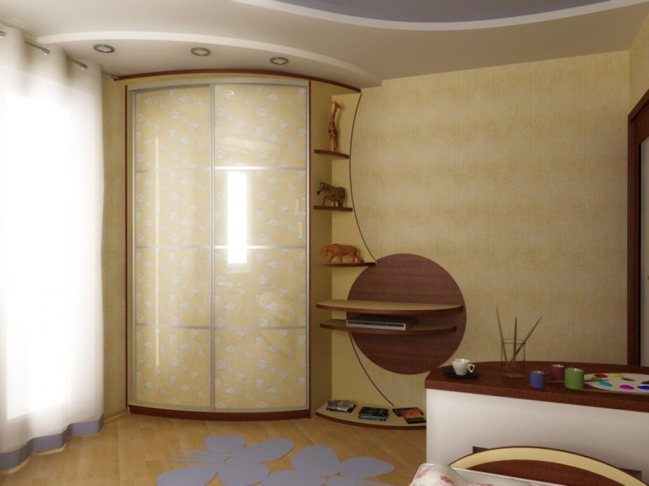 Радиусные угловые шкафы купе недорого от производителя мебел.